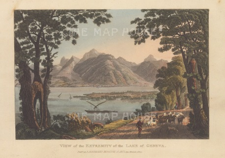 "Ackermann: Lake Geneva.1820. An original colour antique aquatint. 9"" x 6"". [SWIp759]"