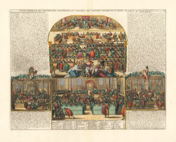 """Chatelain: Swiss Government. 1719. A hand coloured original antique copper engraving. 20"""" x 14"""". [SWIp766]"""