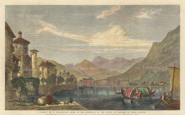 "Illustrated London News: Lake Lugano. 1865. A hand coloured original antique wood engraving. 14"" x 8"". [SWIp772]"
