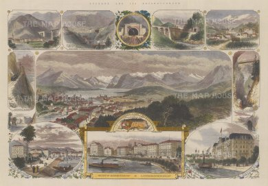 Lucern: Panoramic view of the city surrounded by 10 smaller views of Luzernerhof and Schweizerhof.