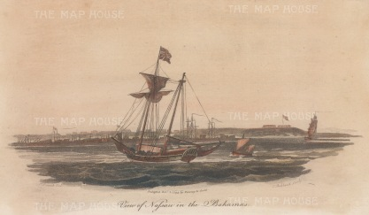 View of the docks with British Flagged ship in the foreground.