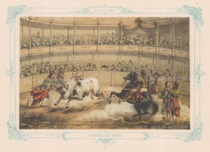 Corridos de Toros (Bull-fighting): With decorative blue border.