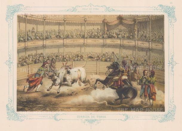 Corridos de Toros (Bull-fighting): With decorative blue border.