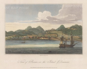 "Orme: Rosseau, Dominica. 1812. A hand coloured original antique copper engraving. 9"" x 7"". [WINDp1059]"