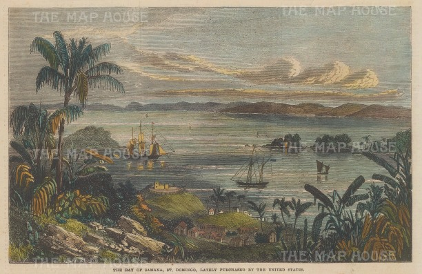 """Illustrated London News: Bay of Samana, Dominican Republic.1868. A hand coloured original antique wood engraving. 8"""" x 5"""". [WINDp1069]"""