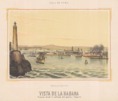 Cuba: Havana. View of the entrance to the port and the Castillo del Morro lighthouse.