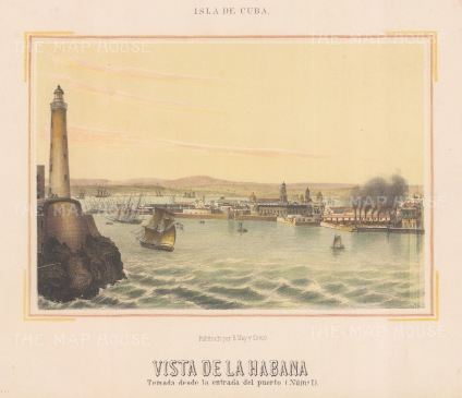 Havana. View of the entrance to the port and the Castillo del Morro lighthouse.
