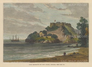 "Illustrated London News: Fort George, Grenada. 1880. A hand coloured original antique wood engraving. 8"" x 5"". [WINDp1140]"