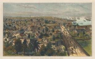 "Illustrated London News: Georgetown, Demerara, Guyana 1888. A hand coloured original antique wood engraving. 14"" x 9"". [WINDp794]"
