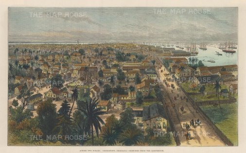 "Illustrated London News: Georgetown, Demerara, Guyana 1888. A hand coloured original antique wood engraving. 14"" x 9"". [WINDp794]"