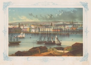Panoramic view from Casa Blanca. With decorative blue border. From the 2nd 'pirate' edition by Bernardo May.