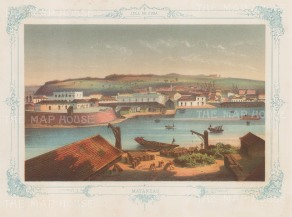 Cuba: Matanzas. Panoramic view of the city. With decorative blue border. From the 2nd 'pirate' edition by Bernardo May.
