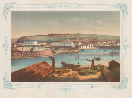 Matanzas: Panoramic view of the city. With decorative blue border.