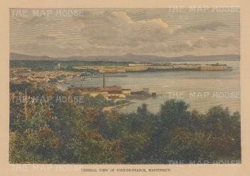 "Reclus: Port au Prince, Martinique. 1894. A hand coloured original antique wood engraving. 7"" x 5"". [WINDp1225]"