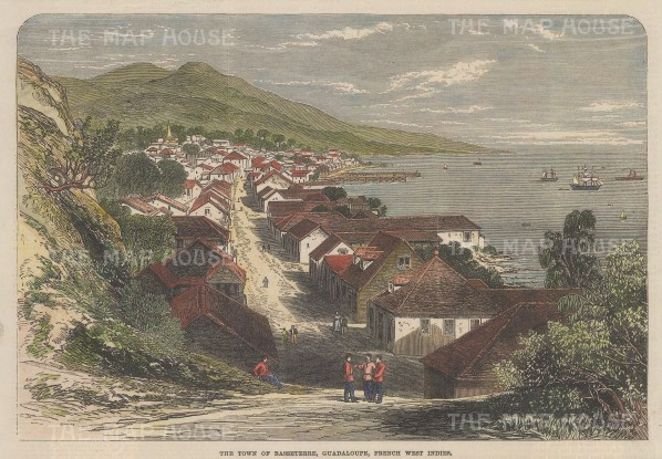 """lllustrated London News: Basseterre, Guadaloupe. 1865. A hand coloured original antique wood engraving. 10"""" x 7"""". [WINDp1227]"""