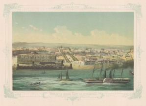 Havana: View of the city walls and the entrance to the port With decorative blue border.