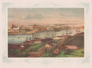 Panoramic view (3rd) from the Casa Blanca. With decorative blue border.