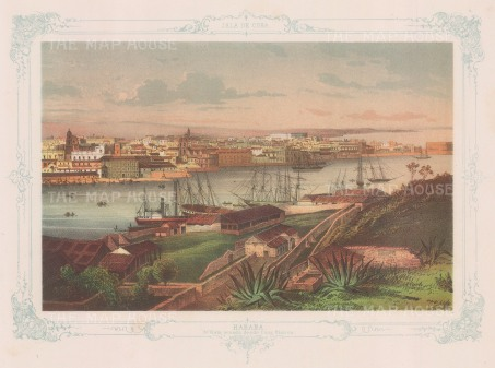 Havana: Panoramic view (3rd) from the Casa Blanca. With decorative blue border.