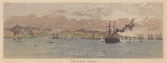 """Illustrated London News: Port of Spain, Trinidad. 1888. A hand coloured original antique wood engraving. 10"""" x 14"""". [WINDp875]"""
