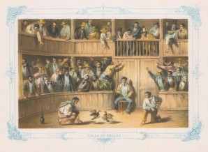 Cuba: Valla de Gallos (Cock fighting): With decorative blue border. From the 2nd 'pirate' edition by Bernardo May.