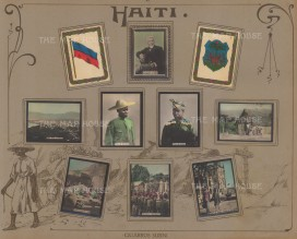 Mounted set of hand coloured photographic cigarette cards issued by Cigarros Susini.