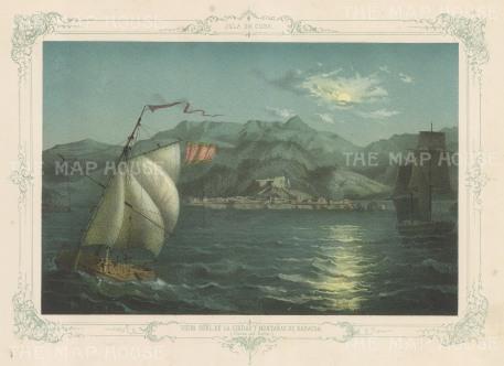 Baracoa: Moonlit scene of Baracoa Bay at the foot of the Sagua-Baracoa mountain range. With decorative blue border.