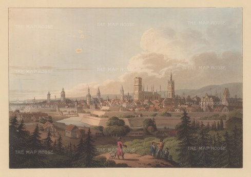 "Bowyer: Gdansk, Poland. c1815. An original colour antique aquatint. 13"" x 9"". [CEUp261]"