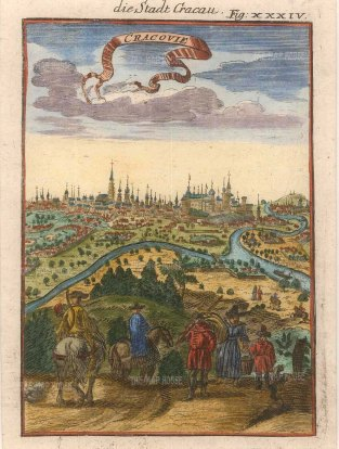 "Mallet: Cracow. Poland. 1719. A hand coloured original antique copper engraving. 4"" x 6"". [CEUp391]"