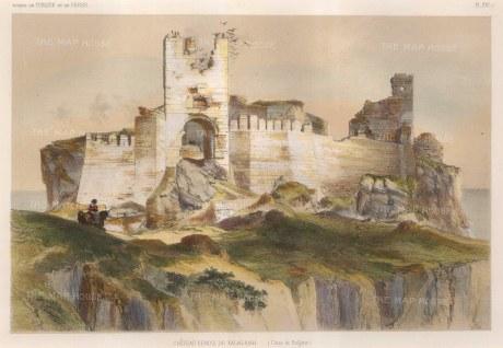 "de Hell: Kalagriah Castle, Bulgaria. 1853. A hand coloured original antique lithograph. 13"" x 8. [CEUp439]"