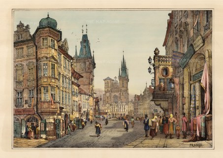 Prague: View of Old Town Square with the Town Hall on the left and Our Lady of Tyn Church.