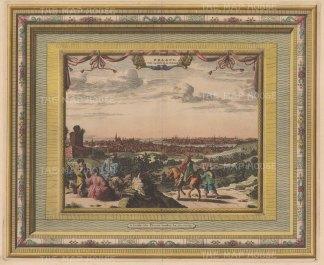 "Van der Aa: Prague, Czech Republic. 1730. A hand coloured original antique copper engraving. 17"" x 14"". [CEUp520]"