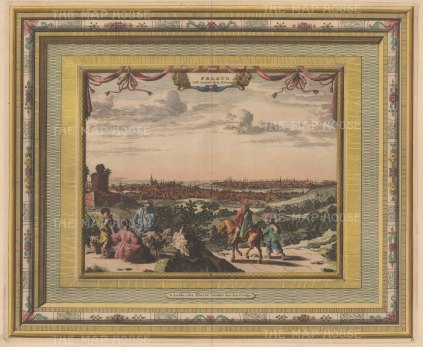 "Van der Aa: Prague, Czech Republic. 1730. A hand coloured original antique copper engraving. 17"" x 14"". [CEUp520]"