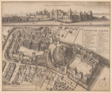 Windsor Castle: Aerial view of the castle and grounds with key. This extraordinary perspective represents a hallmark of Hollar's imaginative technique.