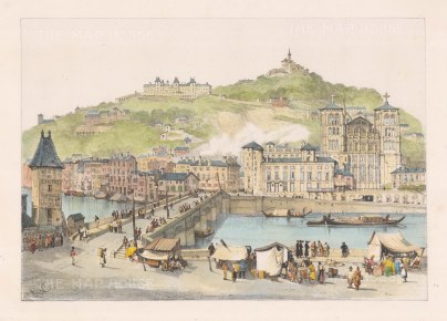 Lyons: View over the Saone river towards Fourviere Hill.