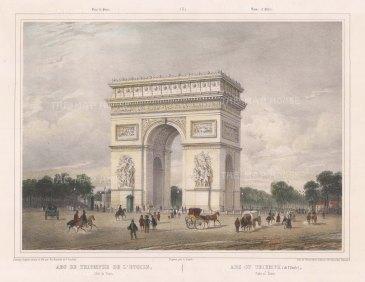 "Benoist: Arc de Triomphe. c1860. A hand coloured original antique lithograph. 16"" x 12"". [FRp1221]"