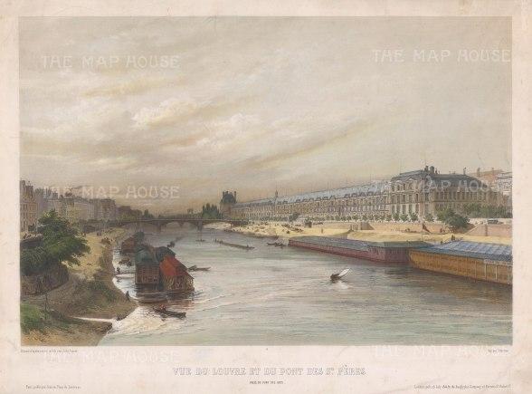 """Lemercier: Louvre. c1850. An original colour antique lithograph. 18"""" x 13"""". [FRp1276]"""