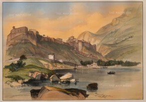 SCARCE Monaco and Coast of Genoa. The first example of more than one lithographic stone used to print colour. Finished by hand.