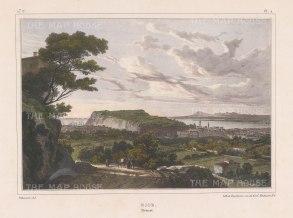 """Villneuve: Nice. c1830. A hand coloured original antique lithograph. 14"""" x 10"""". [FRp1314]"""
