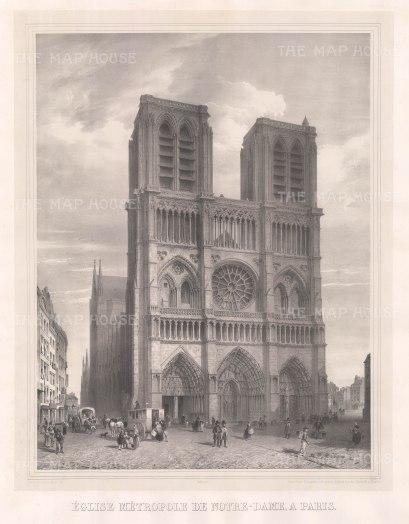 """Simonau: Notre Dame. 1843. An original antique lithograph. 23"""" x 29"""". [FRp1349]"""