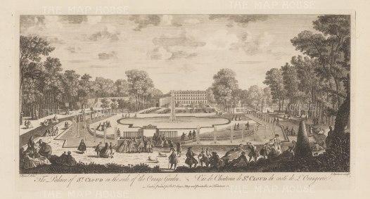 """Sayer: Chateau de Saint-Cloud. 1774. An original antique copper engraving. 18"""" x 10"""". [FRp1575]"""