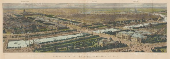 Panorama of the World Fair from Port de la Concorde to Port de l'Alma and showing the Eiffel Tower. The fair was not a financial success and Paris did not host another until 1937 by which time enthusiasm for universal community had faded.