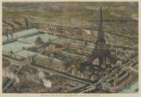 Bird's Eye View of the Paris Exhibition and the newly erected Eiffel Tower.