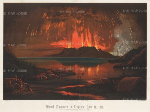 Mount Tarawera: Spectacular depiction from Waitangi at Lake Tarawera of the catastrophic eruption in 1886.