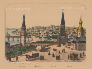 "Burckhardt: The Kremlin, Moscow. c1850. An original colour antique lithograph. 13"" x 10"". [RUSp465]"