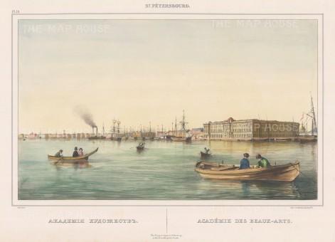 """Perrot: Academy des Beaux Arts, St Petersburg. c1840. An original colour antique lithograph. 16"""" x 12"""". [RUSp487]"""