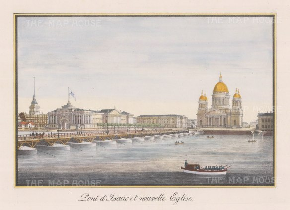 """Alexandriev: St Isaac's Cathedral, St. Petersburg. 1828. A hand coloured original antique lithograph. 16"""" x 12"""". [RUSp574]"""