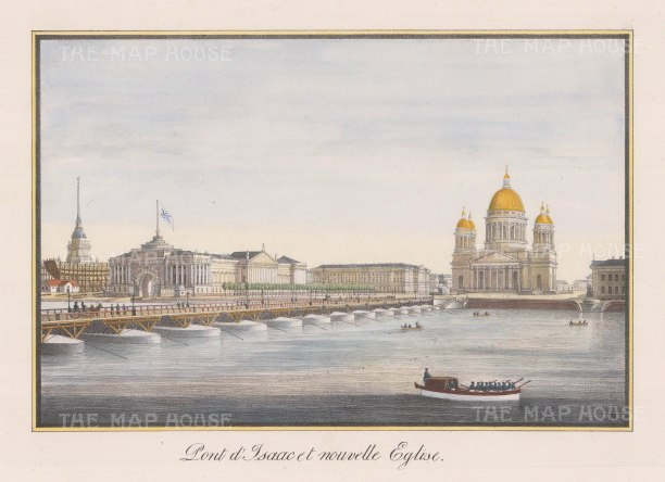 "Alexandriev: St Isaac's Cathedral, St. Petersburg. 1828. A hand coloured original antique lithograph. 16"" x 12"". [RUSp574]"