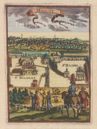 "Mallet: Moscow. 1683. A hand coloured original antique copper engraving. 4"" x 6"". [RUSp612]"