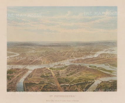 "Collins: St. Petersburg. 1877. An original antique chromolithograph. 11"" x 9"". [RUSp682]"