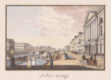 """Alexandriev: Anischkoff Bridge, St Petersburg. 1828. A hand coloured original antique lithograph. 16"""" x 12"""". [RUSp707]"""
